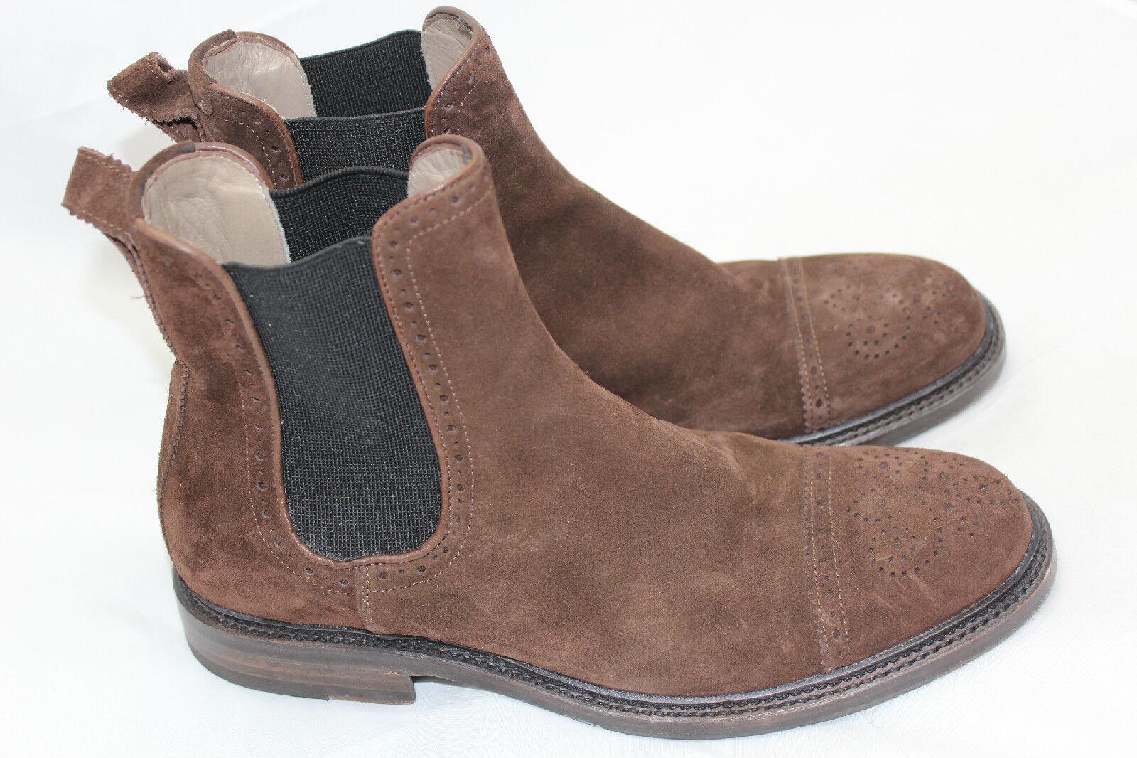 700+ Uomo Aquatalia 'Freddy' Chelsea Boot Brown Suede Pull On Size 9 (Q6)