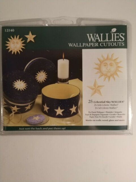 WALLIES SUN & STARS wall sticker 25 prepasted decals celestial sky nursery decor