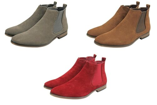Mens Chelsea Boots Suede Look Casual Smart Brown Grey Burgundy All Sizes UK