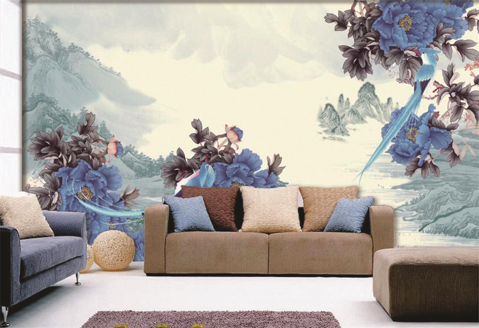 3D bluee Flower Mountain Art 381 Wall Paper Wall Print Decal Wall AJ WALLPAPER CA
