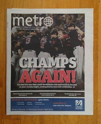 Boston Red Sox 2018 World Series Champions Boston Metro Newspaper October 29-18