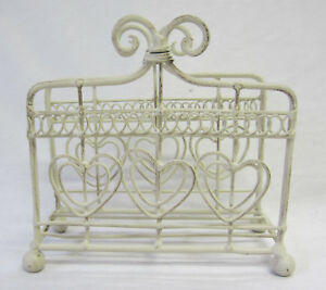 French Provincial Rustic Country Cream Letter Or Serviette Napkin Holder Hearts