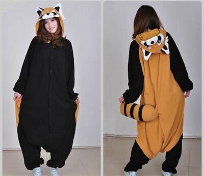 Unisex Adult Racoon Pajamas Kigurumi Cosplay Costume Animal Jumpsuit Sleepwear