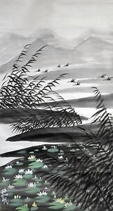 Vintage-Chinese-Watercolor-Lotus-Pond-Wall-Hanging-Scroll-Painting
