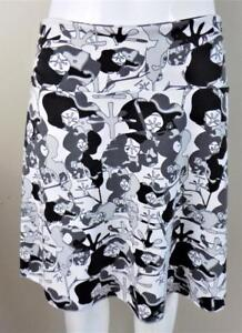 SOYBU-Printed-Sz-M-Black-amp-White-Cinched-Side-Athletic-Skirt
