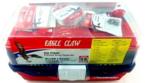 NEW Eagle Claw Flambeau Go Fish Value 55 Piece Tackle Kit