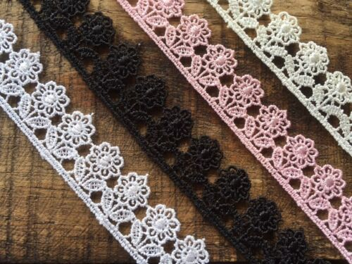 Little Flower Venise Guipure Lace Trim 2cm White Black Ivory Pink laverslace