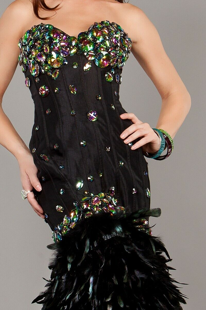 NWT Jovani 1252 Size 4 Black Feather And Crystal Long Mermaid Gown Dress NEW