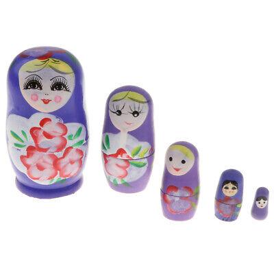 MagiDeal 5 Pieces Unpainted Russian Nesting Doll Babushka Kids DIY Crafts