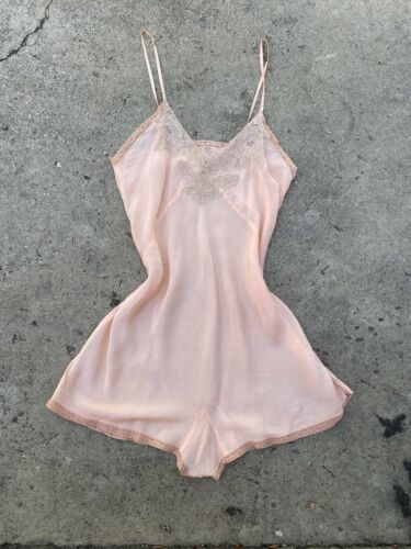 Antique 1920s 1930s Pink Silk Romper Teddy Jumpsui
