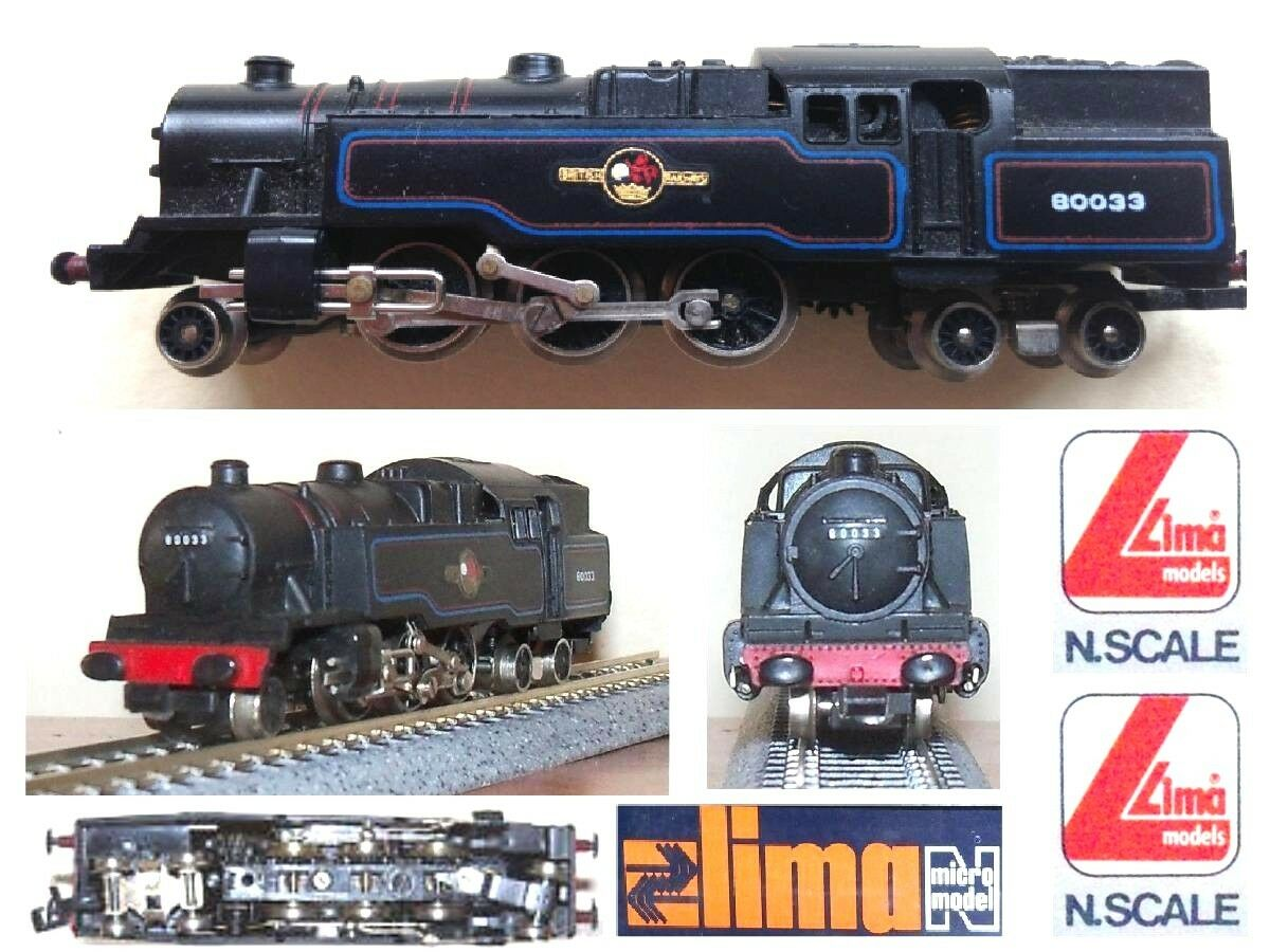 Lima 252 Vintage' 1980 Steam Locomotives 2-6-4 br80-033 british railways scale-N