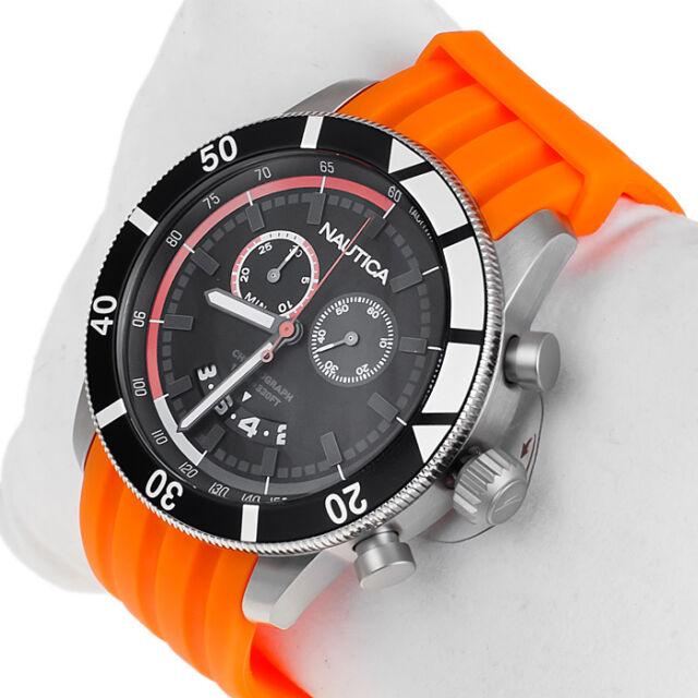 Nautica Black Chronograph Dial Men's Sports Watch Orange Rubber Strap Steel Case