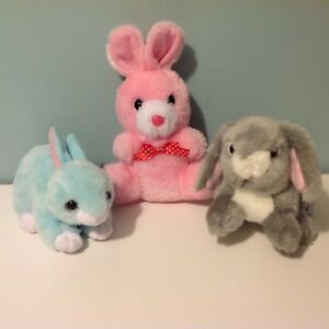 Bundle-of-3-Rabbits-Bunnies-Soft-Toy-Plush-Ty-039-Jumper-039-Nature-Planet-Gift