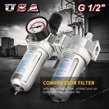 New Listingg12 Air Compressor Filter Oil Water Separator Trap Tool With Regulator Gauge