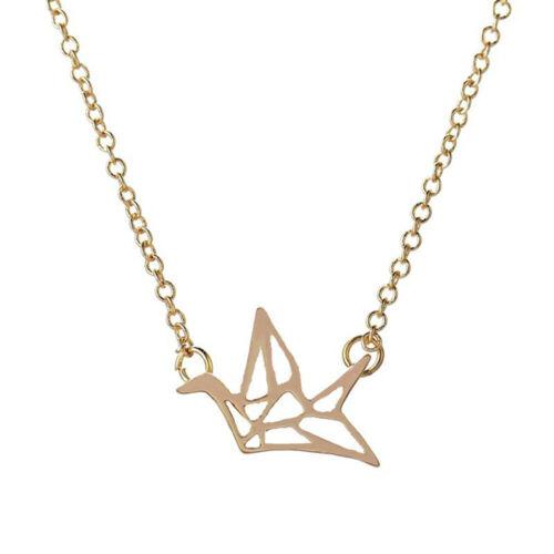 kranich silber gold lange kette origami anhänger einfache halskette