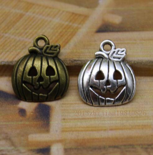 20//60pcs Delicate lovely Tibetan silver Halloween pumpkin face charm pendant