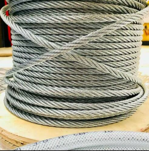 HEAVY DUTY 8mm 7//19 STAINLESS GALVANISED Steel Wire Rope Cable Rigging Extra