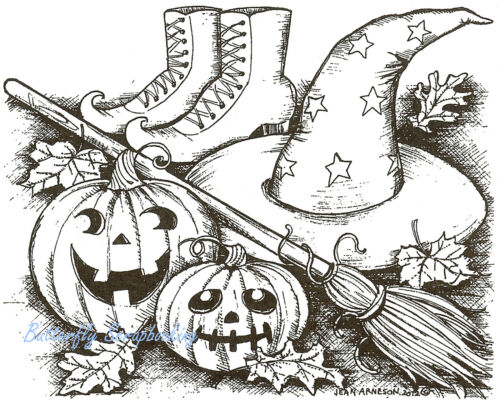Halloween Pumpkins /& Broom Wood Mounted Rubber Stamp Northwoods Rubber Stamp New