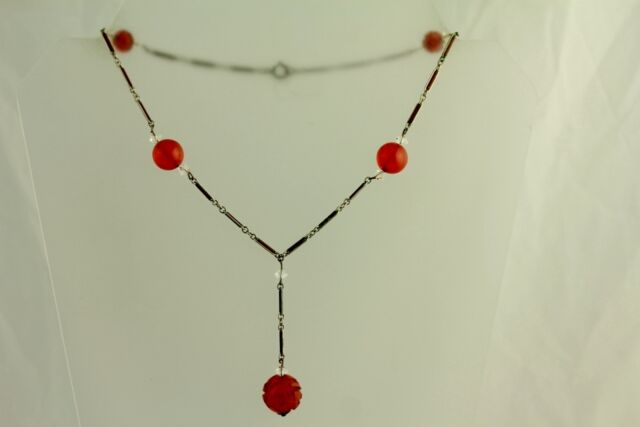 ANTIQUE 30'S BAKELITE EMBOSSED CHAIN DROP NECKLACE BEAUTIFUL SEE MY STOREJ5693