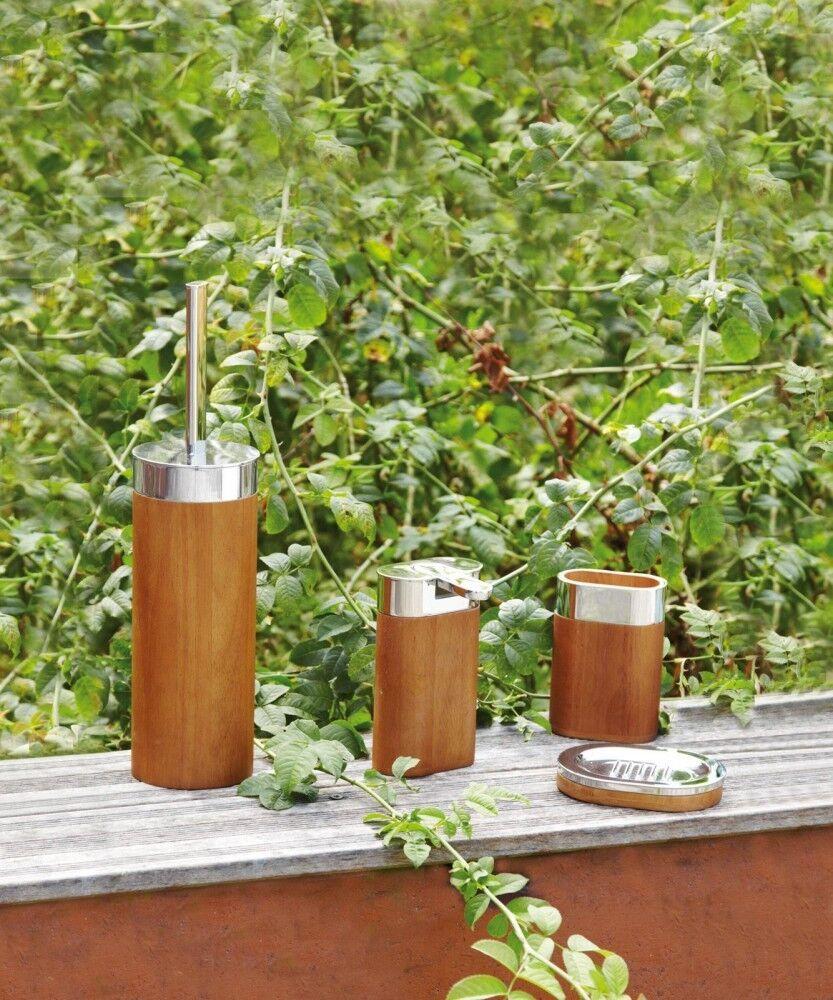 4er-Set Badaccessoires WC-Bürstengarnitur, Seifenspender, Becher, Seifenschale S