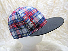 ADIDAS Cotton Plaid Trucker Ball Cap Hat Fitted Size Medium White Red Tartan