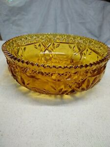 Wheatonware-Amber-Pressed-Glass-Large-Vintage-Serving-Bowl