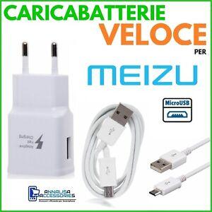 CARICABATTERIE-VELOCE-FAST-CHARGER-per-MEIZU-M6S-PRESA-MURO-CAVO-MICRO-USB