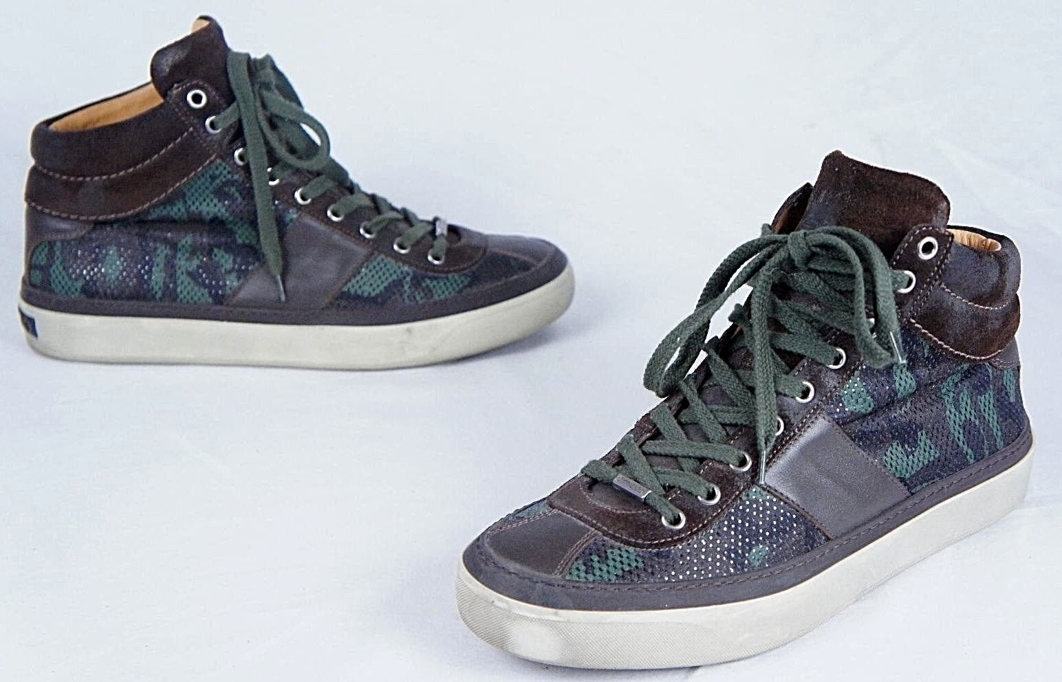 Scarpe casual da uomo  Jimmy Choo uomos Belgravia Green Camo Glitter High-Top Sneakers (42.5EU/9.5US)