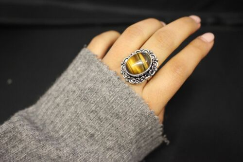 Silver Indian Ring Handmade Ethnic Authentic Stone Big Statement Adjustable