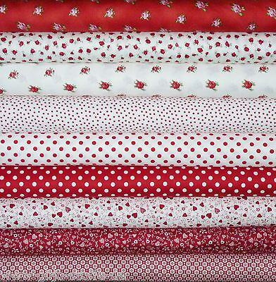 Patchworkstoffe Rot Meterware Rosen Stoff Baumwolle Patchwork 30cmx110cm 14,96€m