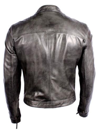 Men/'s New M-124 Grey Nappa Soft Real Lambskin Lather BIKER Rock Zipper Jacket