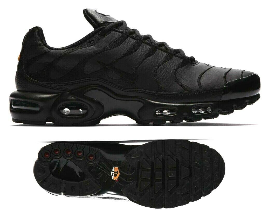 New NIKE Air Max Plus TN leather Men's Sneakers AJ2029 001 triple black size 13