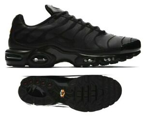 Details about New NIKE Air Max Plus TN leather Men's Athletic Sneakers triple black all sizes
