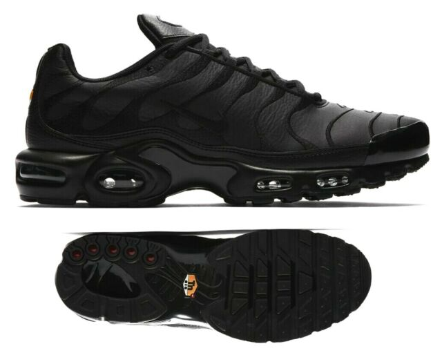 New NIKE Air Max Plus TN leather Men's Sneakers triple black all sizes