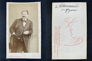 Disdéri, Paris, Hippolyte de Villemessant, journaliste Vintage cdv albumen print