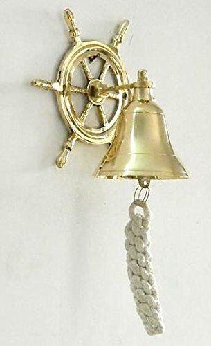 Door Bell Wall Hanging Vintage Marine Nautical Brass Wheel Ship Bell Calling