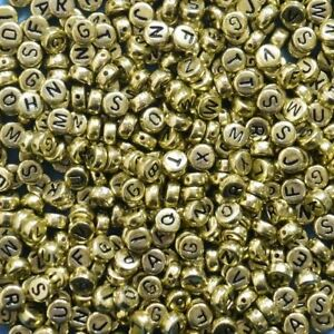 400-Gold-Alphabet-Letter-Beads-6-5mm-Acrylic-Jewellery-Making-Beads