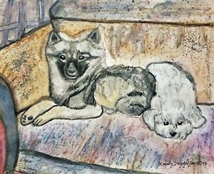 Keeshond-and-Toy-Poodle-8x10-Print-of-Original-Watercolor-Painting-by-KHS-Modern
