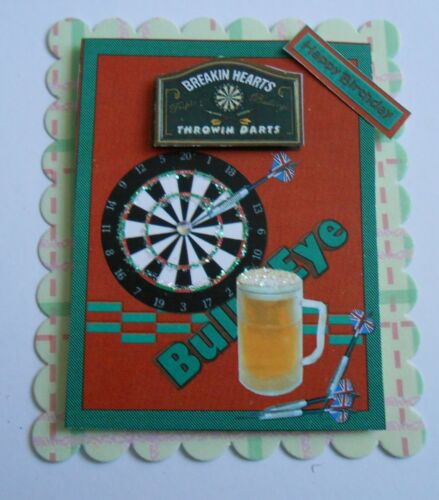 PK 2 DARTS AND A PINT BIRTHDAY EMBELLISHMENT TOPPERS FOR CARDS//CRAFTS
