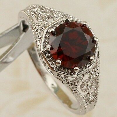 Size 4.5 5.5 6.5 7.5 Classy Dark Garnet Red Gems Jewelry Gold Filled Ring R2262