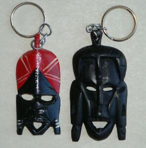 Africa Mask Keychain - Souvenir Tribal Mask - Handcarved