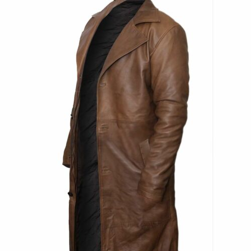 Batman Dawn of Justice Knightmare Brown Distressed Leather Trench Coat