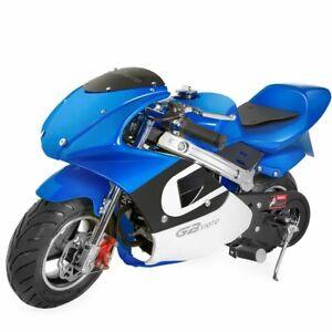 High-Performance-Mini-Motorcycle-4-Stroke-40cc-Blue-White-Pocket-Mini-Bike
