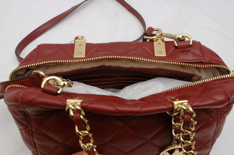 9d5780c88f5 Michael Kors Susannah Claret Small Leather Satchel Handbag Purse Red Gold    eBay