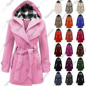 New-Womens-Ladies-Belted-Fleece-Hooded-Coat-Button-Long-Sleeve-Warm-Jacket-Top