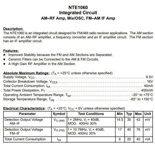 NTE1060 AN217P 1 Pcs AM-RF Amp//Mélangeur//Oscillateur