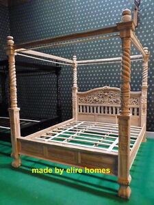 real teak wood 6 39 super king size naturel rustic style four poster canopy bed ebay. Black Bedroom Furniture Sets. Home Design Ideas