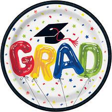 8 x Graduation Adventure Begins Elegant Paper Party Plates 23cm Goil Foil Finish