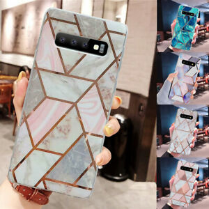 Case-For-Samsung-Galaxy-S10-S8-S9-Plus-Geometric-Marble-Glitter-Soft-Back-Cover