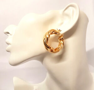 Image Is Loading Women 039 S Thick 35mm Twisted Gold Plated